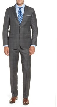 Hickey Freeman Men's Classic B Fit Plaid Wool Suit