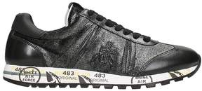 Premiata Diane In Black Leather And Glitter Sneakers