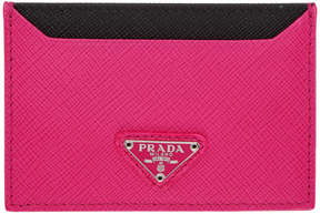 Prada Pink Triangle Logo Card Holder
