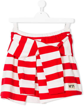 No.21 Kids TEEN striped tied design skirt