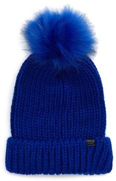 David & Young Women's Faux Fur Pom Chunky Beanie - Blue