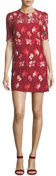Camilla And Marc Aerie Floral Lace Short-Sleeve Mini Dress
