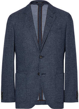 Ermenegildo Zegna Navy Slim-Fit Unstructured Wool-Blend Bouclé Blazer