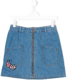 Tommy Hilfiger Junior badge detail denim skirt