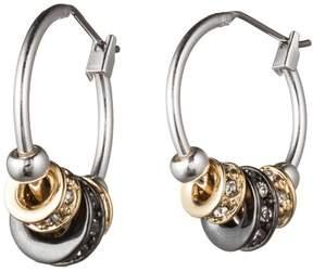 Nine West Tri-Tone Pave Slider Hoop Earrings One Size