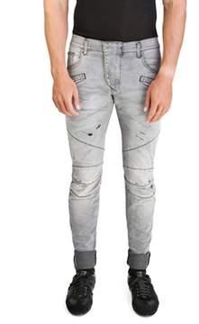 Pierre Balmain Men's Slim Fit Distressed Biker Denim Jeans Pants Light Black.