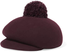 Eugenia Kim Ogden Feather-embellished Wool-felt Cap - Burgundy
