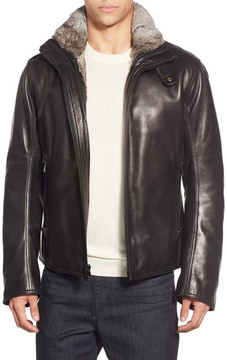 Andrew Marc Flycroft Leather Genuine Rabbit Fur Lining Moto Bomber Jacket