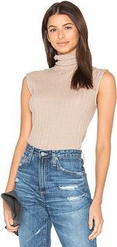 Enza Costa Cashmere Rib Sleeveless Turtleneck Sweater