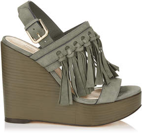 Jimmy Choo NYA 120 Mink Suede Wedges with Fringing