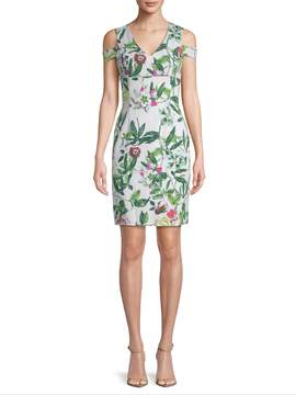 Donna Ricco Women's Floral Cold-Shoulder Dress