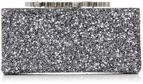 Jimmy Choo CELESTE/S Gunmetal Mix Star Coarse Glitter Fabric Clutch Bag with Crystal Clasp