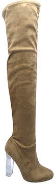 Wild Diva Taupe Blossom Over-the-Knee Boot