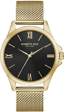 Kenneth Cole New York Men's Classic Gold-Tone Stainless Steel Mesh Bracelet Watch 42mm