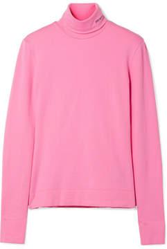 Calvin Klein Embroidered Cotton-jersey Turtleneck Top - Pink