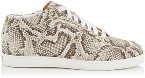 Jimmy Choo MIAMI Natural Nubuck Snake Printed Leather Sneakers