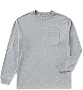 Roundtree & Yorke Soft Washed Long-Sleeve Heathered Pocket Crew Tee
