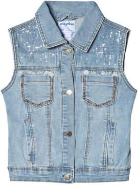 Mayoral Light Blue Denim Sequin and Studded Vest