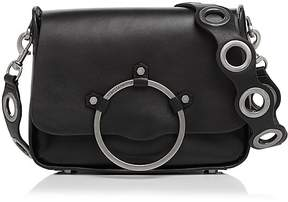 Rebecca Minkoff Ring Leather Shoulder Bag - BLACK/GUNMETAL - STYLE