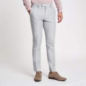 River Island Mens Grey linen stripe skinny suit pants