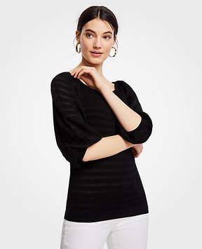 Ann Taylor Striped Balloon Sleeve Sweater