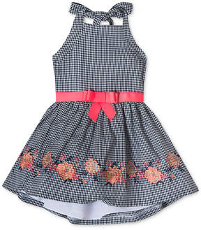 Rare Editions Embroidered Gingham Halter Dress, Toddler Girls