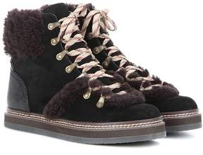 See by Chloe Shearling-trimmed suede ankle boots