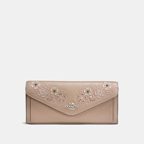 COACH Coach Soft Wallet In Glovetanned Leather With Tea Rose Tooling - LIGHT ANTIQUE NICKEL/STONE MULTI - STYLE