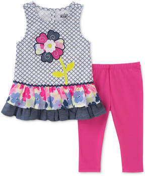 Kids Headquarters 2-Pc. Flower Tunic & Leggings Set, Baby Girls