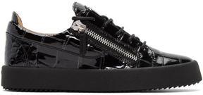 Giuseppe Zanotti Black Croc-Embossed May London Sneakers