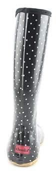 Chooka Classic Dot Packable Women Round Toe Synthetic Black Rain Boot.