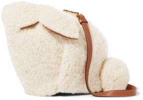 Loewe Bunny Leather-trimmed Shearling Shoulder Bag - White