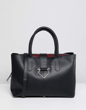 Asos DESIGN leather soft lock tote bag with tablet compartment