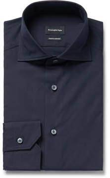 Ermenegildo Zegna Midnight-Blue Slim-Fit Cutaway-Collar Cotton-Poplin Shirt
