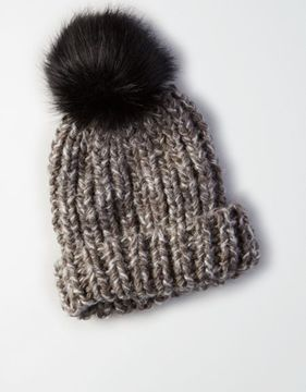 American Eagle Outfitters AE Faux Fur Pom Beanie