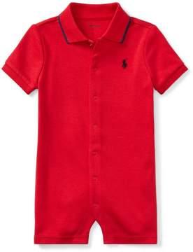 Ralph Lauren | Cotton Interlock Polo Shortall | 18-24 months | Red flag