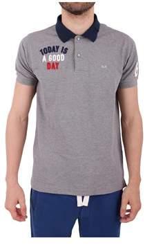Sun 68 Men's Grey Cotton Polo Shirt.