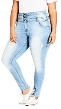 City Chic Plus High-Rise Distressed Jeans