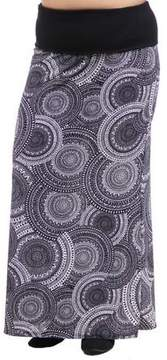 24/7 Comfort Apparel Women's Plus Size Black and White Oriental Printed Fold Over Maxi Skirt
