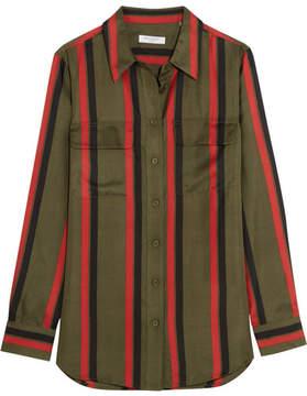 Equipment Signature Striped Silk-twill Shirt - Green