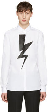 Neil Barrett White Single Thunderbolt Shirt
