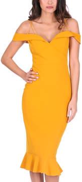 AX Paris Mustard Ruffle-Accent Shoulder-Cutout Dress - Women