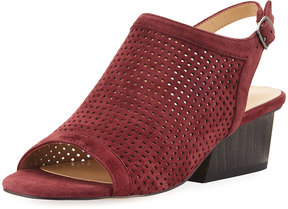 Neiman Marcus Corrie Perforated Slingback Sandal, Red