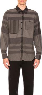 Engineered Garments Plaid Work Shirt in Checkered & Plaid,Gray.