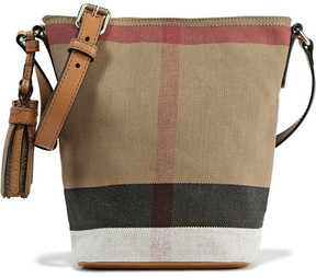 Burberry Mini Leather-trimmed Checked Canvas Shoulder Bag - Brown - BROWN - STYLE