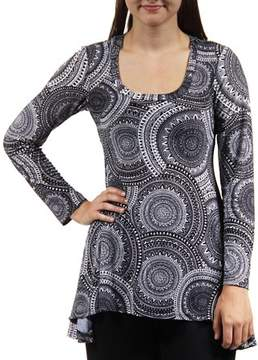 24/7 Comfort Apparel Women's Black Oriental Printed Tunic
