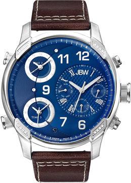 JBW The G4 Mens 1/6 CT. T.W. Diamond Brown Leather Strap Watch J6248LN