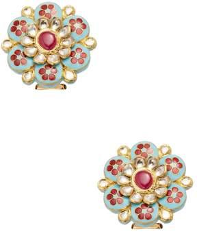 Amrapali Women's 22K Yellow Gold, Ruby & 1.97 Total Ct. Diamond Floral Stud Earrings