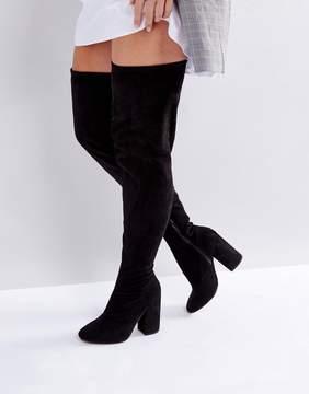 Asos KATCHER WIDE LEG Heeled Over The Knee Boots