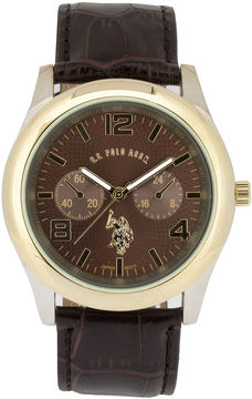 U.S. Polo Assn. USPA Mens Brown Leather Strap Watch